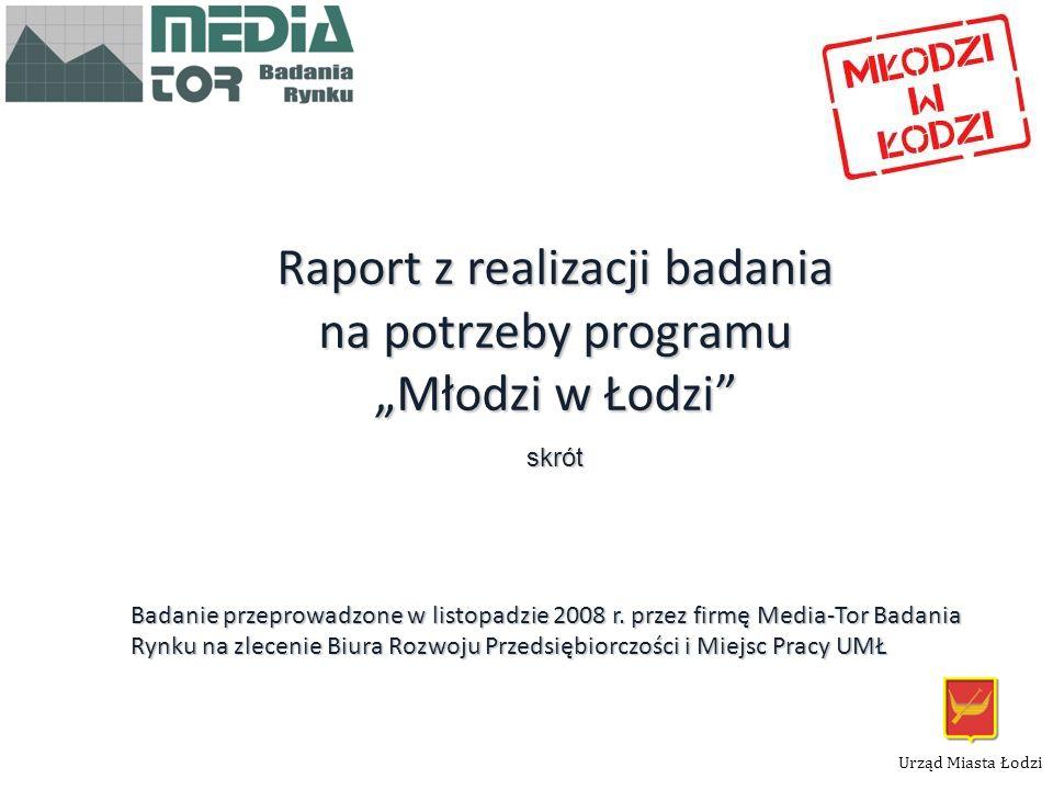 1 Raport z realizacji badania na potrzeby programu Młodzi w Łodzi skrót Badanie przeprowadzone w listopadzie 2008 r. przez firmę Media-Tor Badania Ryn