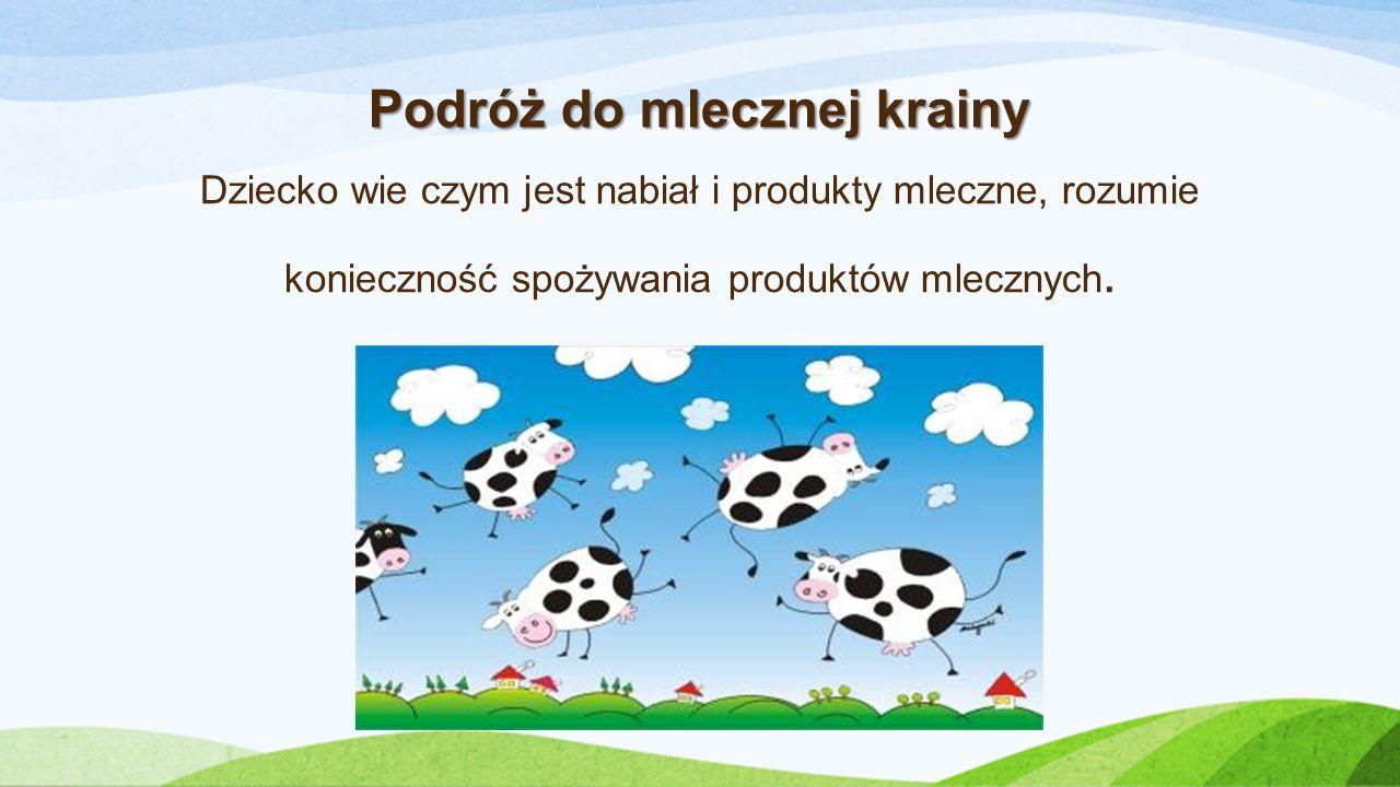 Podróż do mlecznej krainy Podróż do mlecznej krainy Dziecko wie czym jest nabiał i produkty mleczne, rozumie konieczność spożywania produktów mlecznych.