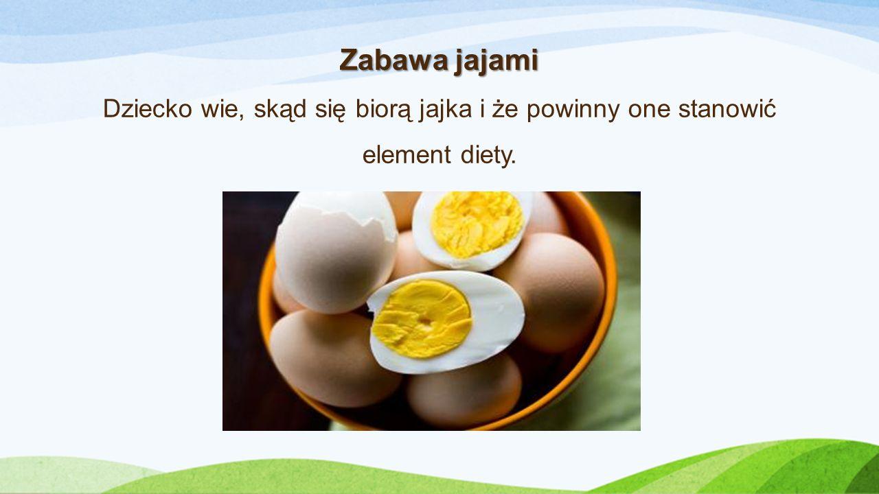 Zabawa jajami Zabawa jajami Dziecko wie, skąd się biorą jajka i że powinny one stanowić element diety.