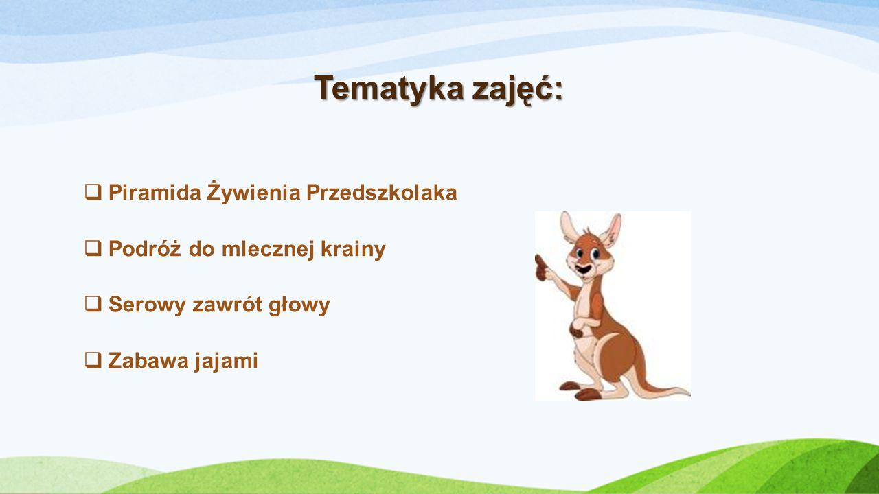 Tematyka zajęć: Piramida Żywienia Przedszkolaka Podróż do mlecznej krainy Serowy zawrót głowy Zabawa jajami
