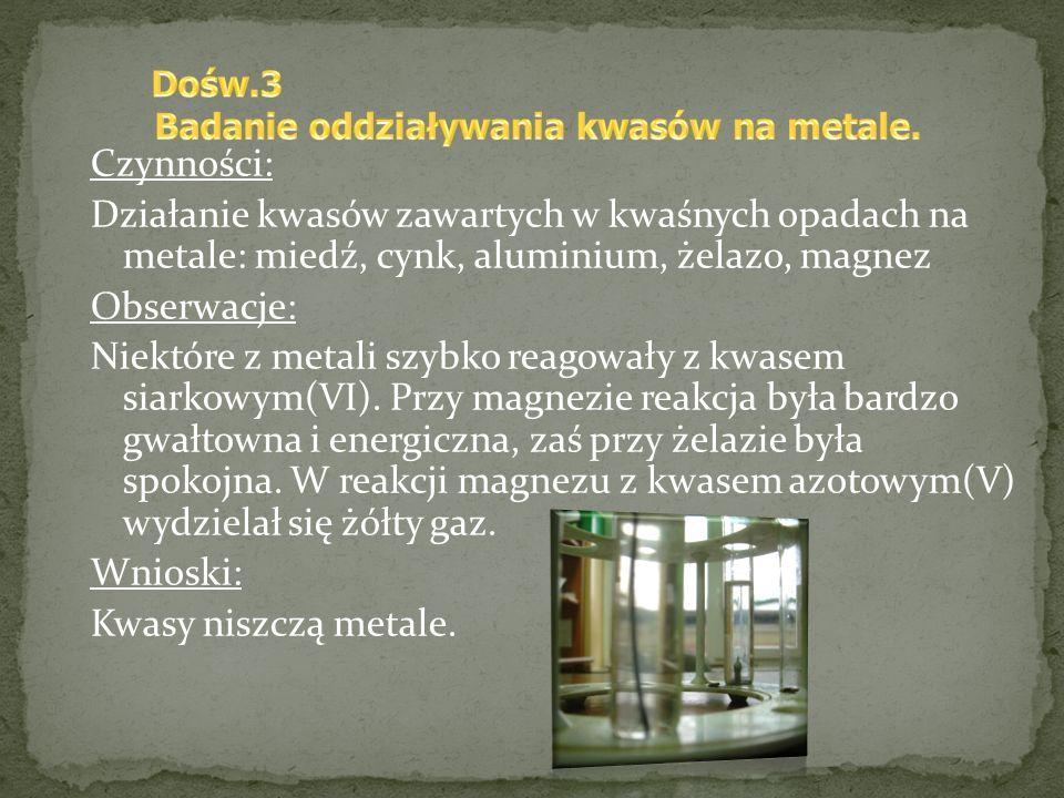 Czynności: Działanie kwasów zawartych w kwaśnych opadach na metale: miedź, cynk, aluminium, żelazo, magnez Obserwacje: Niektóre z metali szybko reagow