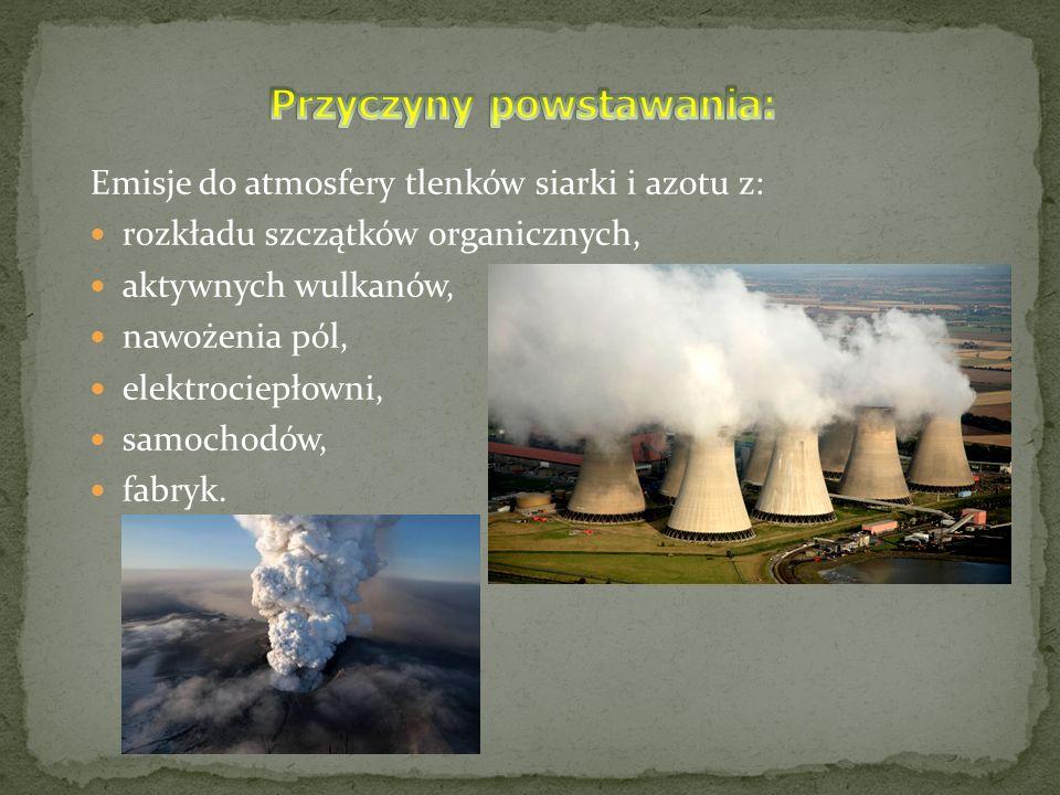 Emisje do atmosfery tlenków siarki i azotu z: rozkładu szczątków organicznych, aktywnych wulkanów, nawożenia pól, elektrociepłowni, samochodów, fabryk