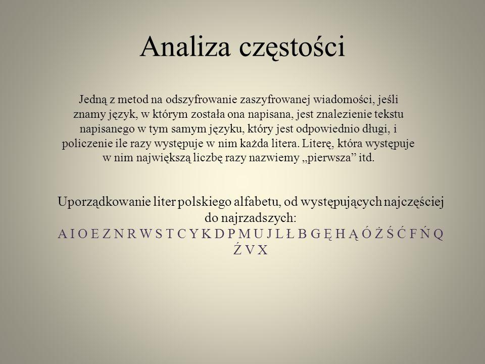 Analiza częstości Jedną z metod na odszyfrowanie zaszyfrowanej wiadomości, jeśli znamy język, w którym została ona napisana, jest znalezienie tekstu n
