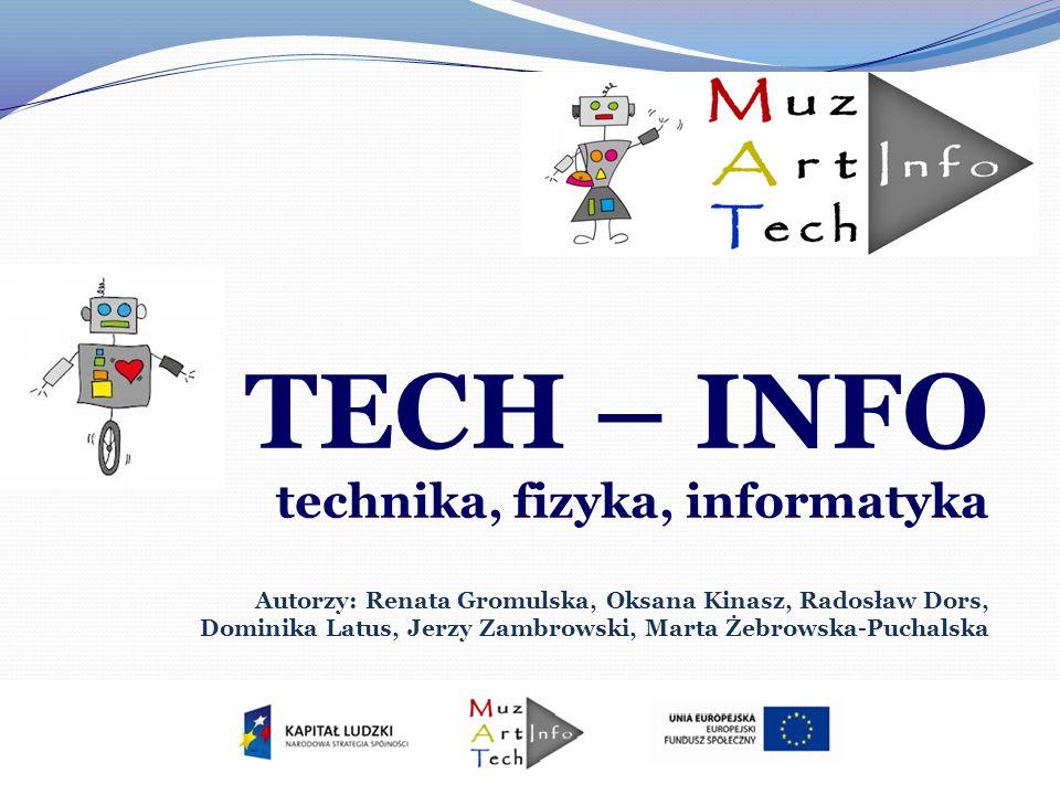 TECH – INFO Program TECH – INFO przygotowuje młodzież do życia w cywilizacji technicznej, proponując: - łączenie nowoczesnych i tradycyjnych technik – robotyki, papieroplastyki i modelarstwa; - rozwijanie aktywności twórczej uczniów opartej na wiedzy i umiejętnościach technicznych; - wykonywanie prezentacji multimedialnych i dokumentacji technicznej projektów; - zaznajomienie z wytworami współczesnej techniki, - uczenie pracy zespołowej i współdziałania.