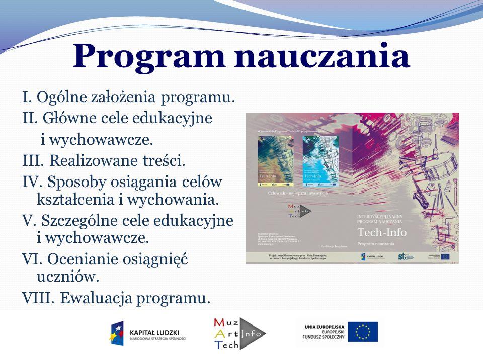 Program nauczania I. Ogólne założenia programu. II. Główne cele edukacyjne i wychowawcze. III. Realizowane treści. IV. Sposoby osiągania celów kształc