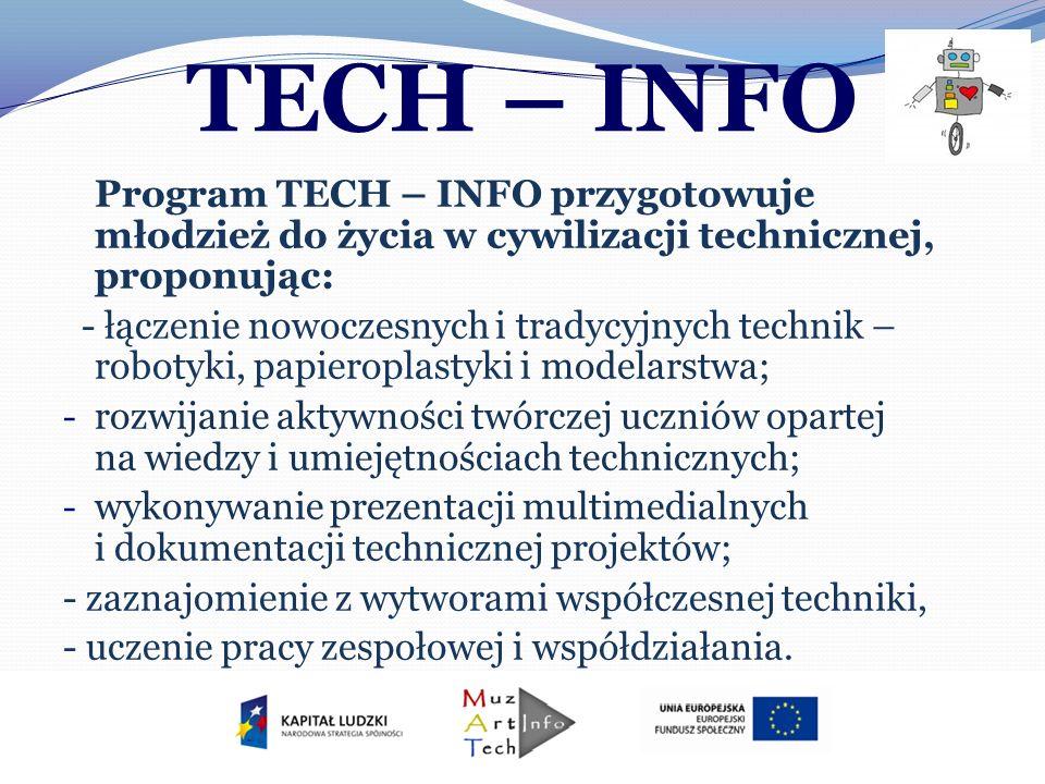 TECH – INFO Program TECH – INFO przygotowuje młodzież do życia w cywilizacji technicznej, proponując: - łączenie nowoczesnych i tradycyjnych technik –