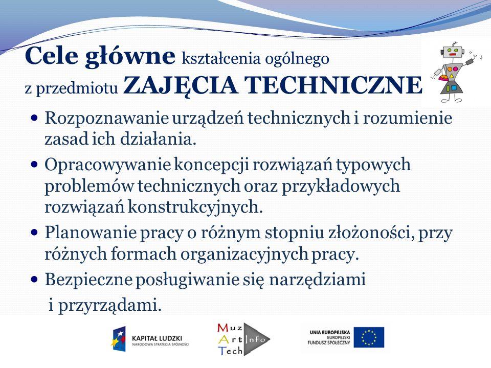 Cele główne kształcenia ogólnego z przedmiotu ZAJĘCIA TECHNICZNE Rozpoznawanie urządzeń technicznych i rozumienie zasad ich działania. Opracowywanie k