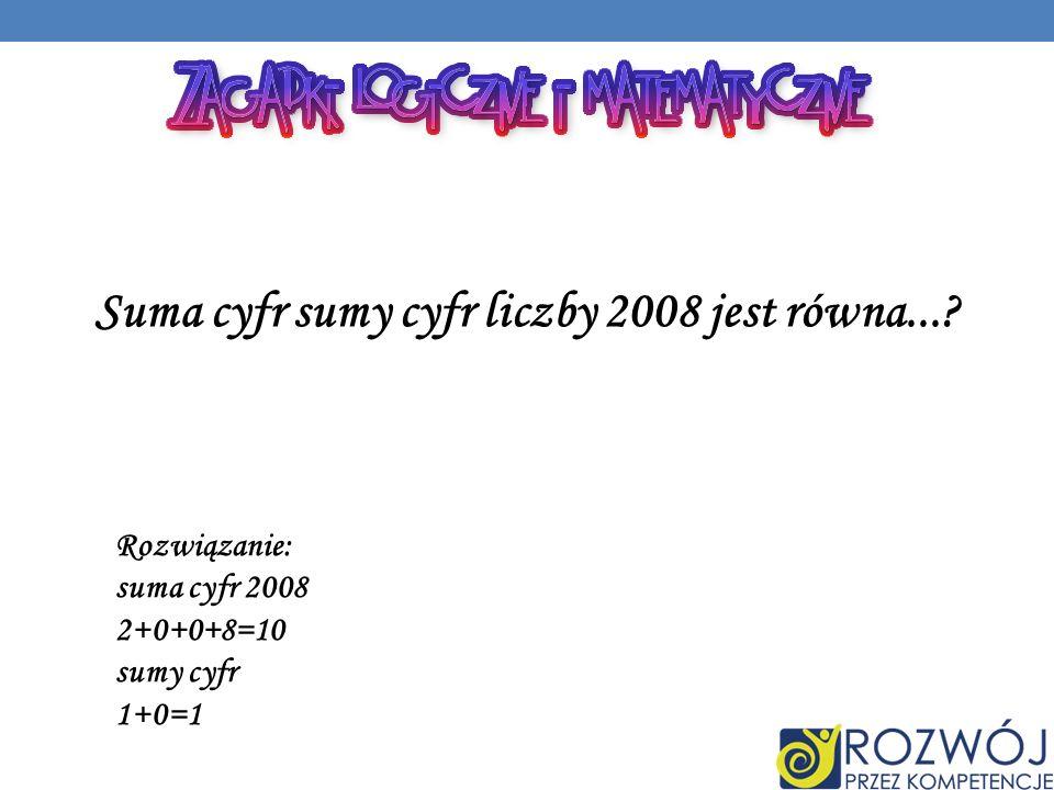 Suma cyfr sumy cyfr liczby 2008 jest równa....