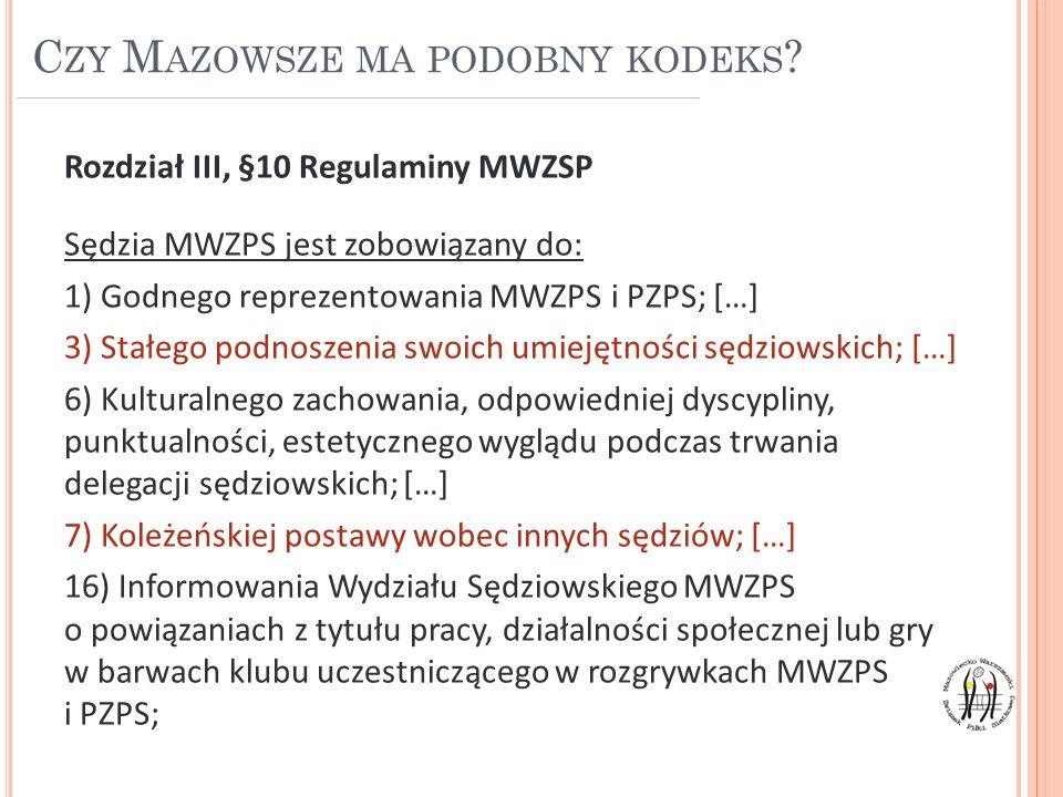 Rozdział III, §10 Regulaminy MWZSP Sędzia MWZPS jest zobowiązany do: 1) Godnego reprezentowania MWZPS i PZPS; […] 3) Stałego podnoszenia swoich umieję