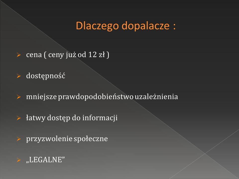 cena ( ceny już od 12 zł ) dostępność mniejsze prawdopodobieństwo uzależnienia łatwy dostęp do informacji przyzwolenie społeczne LEGALNE