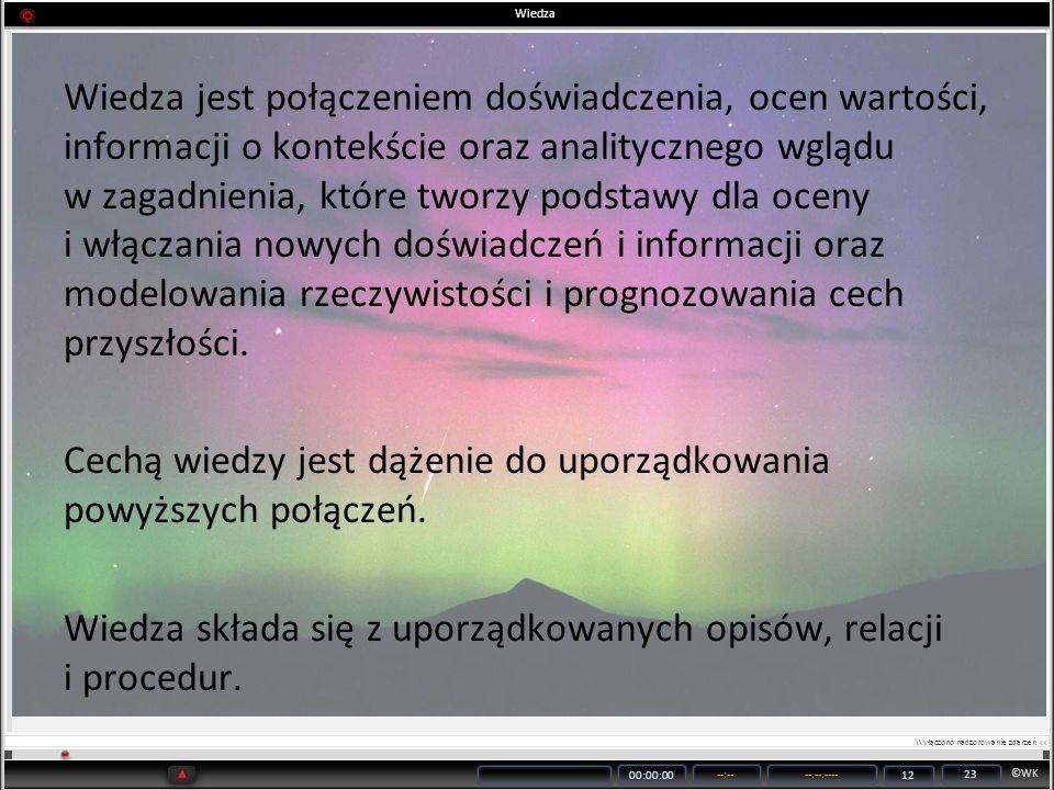 ©WK 00:00:00 --:----.--.---- 12 23 Wiedza Wiedza jest połączeniem doświadczenia, ocen wartości, informacji o kontekście oraz analitycznego wglądu w za
