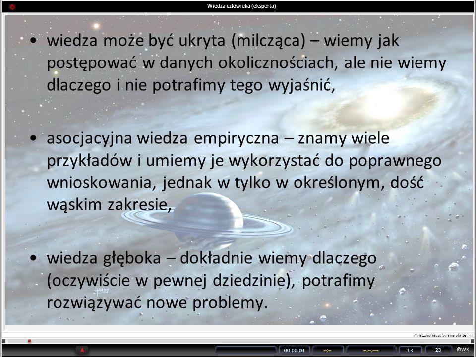 ©WK 00:00:00 --:----.--.---- 13 23 Wiedza człowieka (eksperta) wiedza może być ukryta (milcząca) – wiemy jak postępować w danych okolicznościach, ale