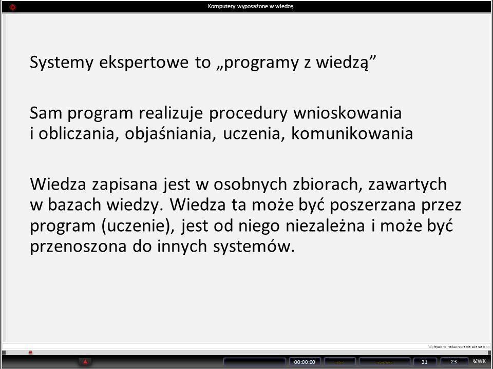 ©WK 00:00:00 --:----.--.---- 21 23 Komputery wyposażone w wiedzę Systemy ekspertowe to programy z wiedzą Sam program realizuje procedury wnioskowania