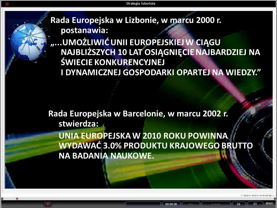 ©WK 00:00:00 --:----.--.---- 26 23 Rada Europejska w Barcelonie, w marcu 2002 r. stwierdza: UNIA EUROPEJSKA W 2010 ROKU POWINNA WYDAWAĆ 3.0% PRODUKTU
