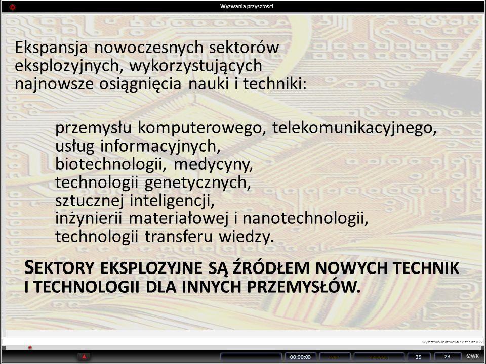 ©WK 00:00:00 --:----.--.---- 29 23 Ekspansja nowoczesnych sektorów eksplozyjnych, wykorzystujących najnowsze osiągnięcia nauki i techniki: przemysłu k