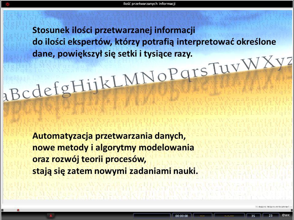 ©WK 00:00:00 --:----.--.---- 35 23 Stosunek ilości przetwarzanej informacji do ilości ekspertów, którzy potrafią interpretować określone dane, powięks