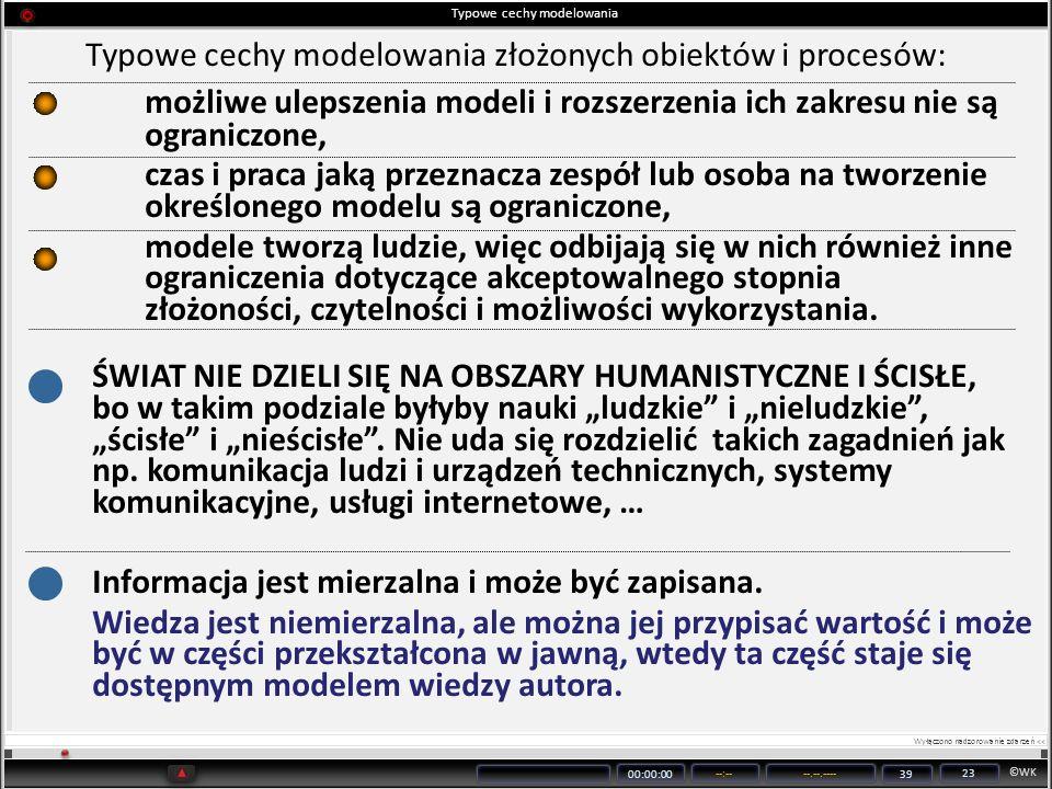 ©WK 00:00:00 --:----.--.---- 39 23 Typowe cechy modelowania Typowe cechy modelowania złożonych obiektów i procesów: możliwe ulepszenia modeli i rozsze