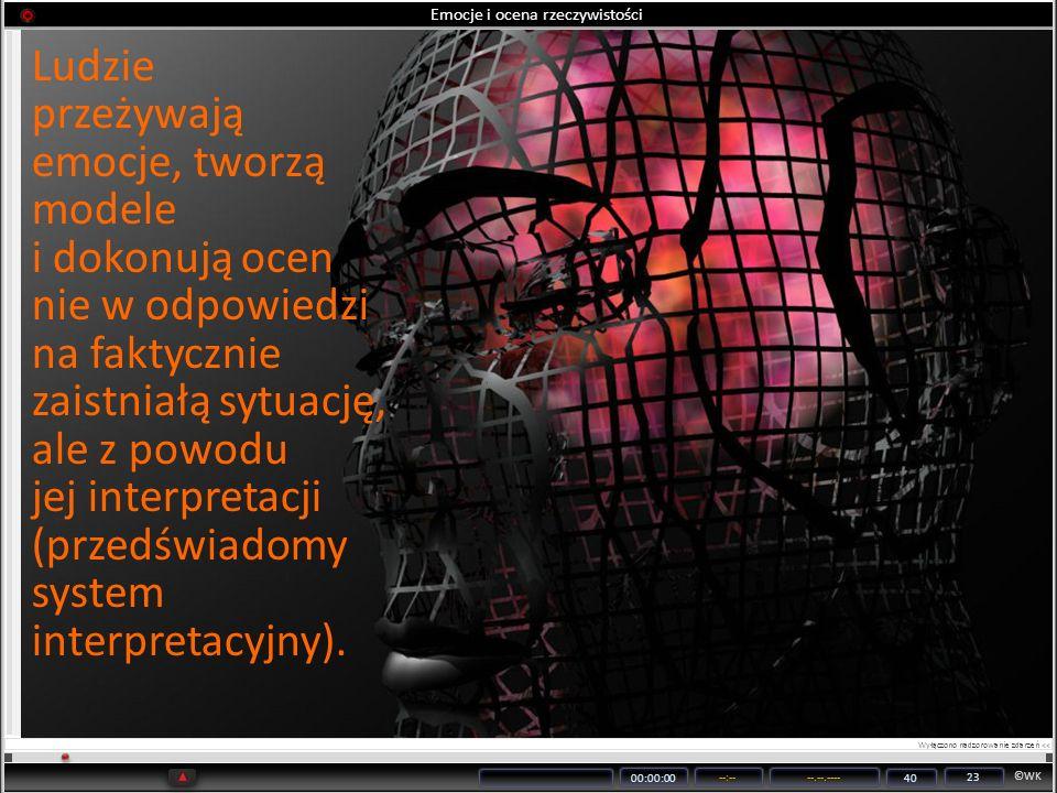 ©WK 00:00:00 --:----.--.---- 40 23 Emocje i ocena rzeczywistości Ludzie przeżywają emocje, tworzą modele i dokonują ocen nie w odpowiedzi na faktyczni