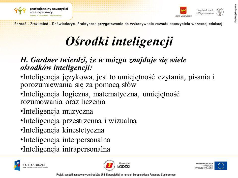 Ośrodki inteligencji H. Gardner twierdzi, że w mózgu znajduje się wiele ośrodków inteligencji: Inteligencja językowa, jest to umiejętność czytania, pi