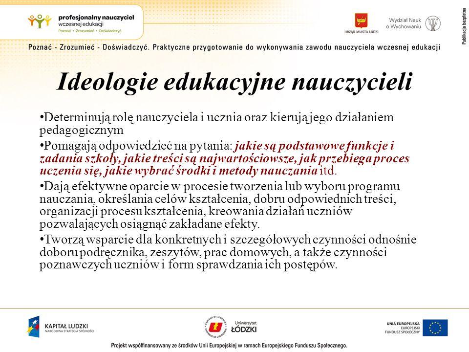 Ideologie edukacyjne nauczycieli Determinują rolę nauczyciela i ucznia oraz kierują jego działaniem pedagogicznym Pomagają odpowiedzieć na pytania: ja