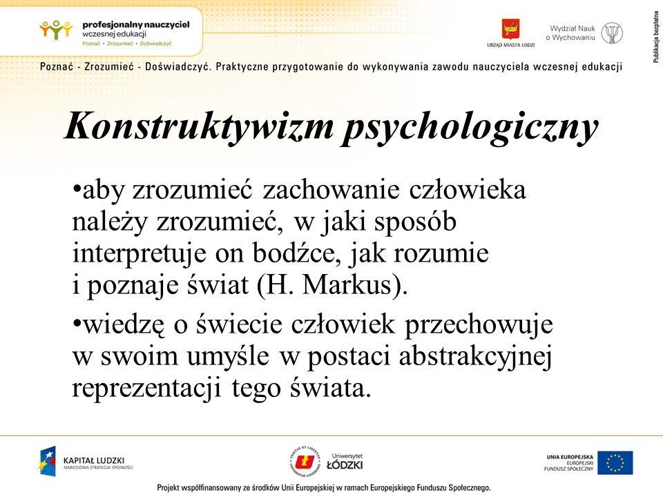 Konstruktywizm psychologiczny aby zrozumieć zachowanie człowieka należy zrozumieć, w jaki sposób interpretuje on bodźce, jak rozumie i poznaje świat (