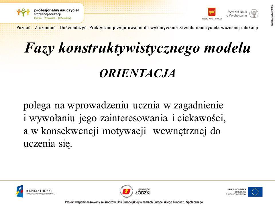 Fazy konstruktywistycznego modelu ORIENTACJA polega na wprowadzeniu ucznia w zagadnienie i wywołaniu jego zainteresowania i ciekawości, a w konsekwenc
