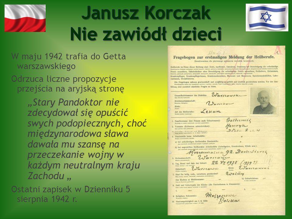 W maju 1942 trafia do Getta warszawskiego Odrzuca liczne propozycje przejścia na aryjską stronę Stary Pandoktor nie zdecydował się opuścić swych podop