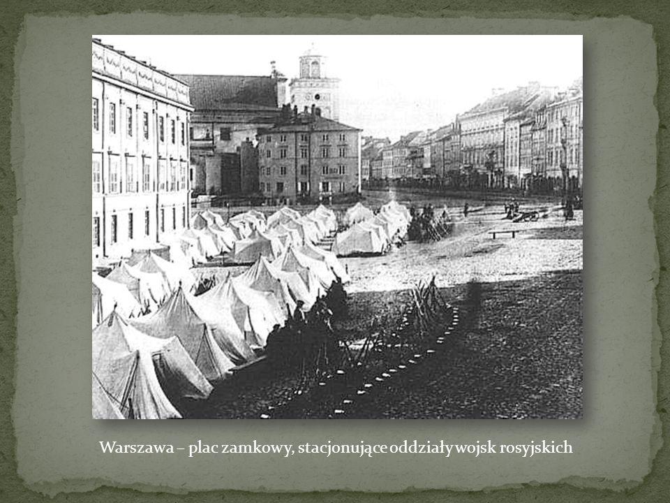 Obozowisko Rosjan w 1861 na Placu Saskim w Warszawie Jedna z bezpośrednich przyczyn wybuchu Powstania – branka do wojska na 20 lat.
