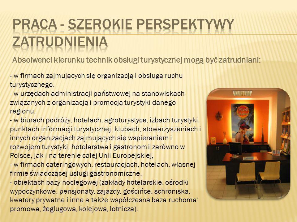 - w firmach zajmujących się organizacją i obsługą ruchu turystycznego.