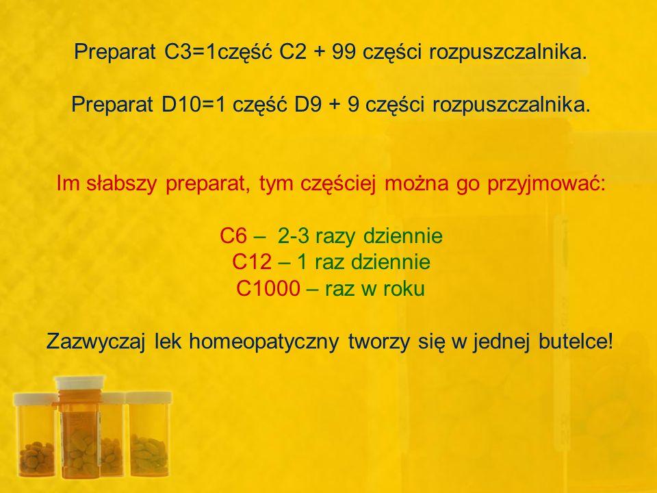 Preparat C3=1część C2 + 99 części rozpuszczalnika. Preparat D10=1 część D9 + 9 części rozpuszczalnika. Im słabszy preparat, tym częściej można go przy