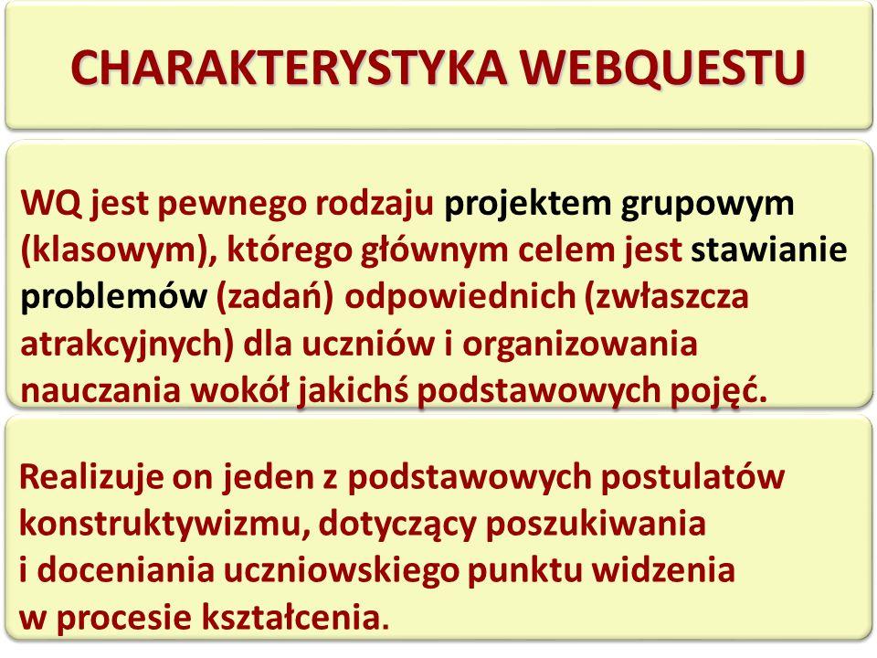 CHARAKTERYSTYKA WEBQUESTU WQ jest pewnego rodzaju projektem grupowym (klasowym), którego głównym celem jest stawianie problemów (zadań) odpowiednich (