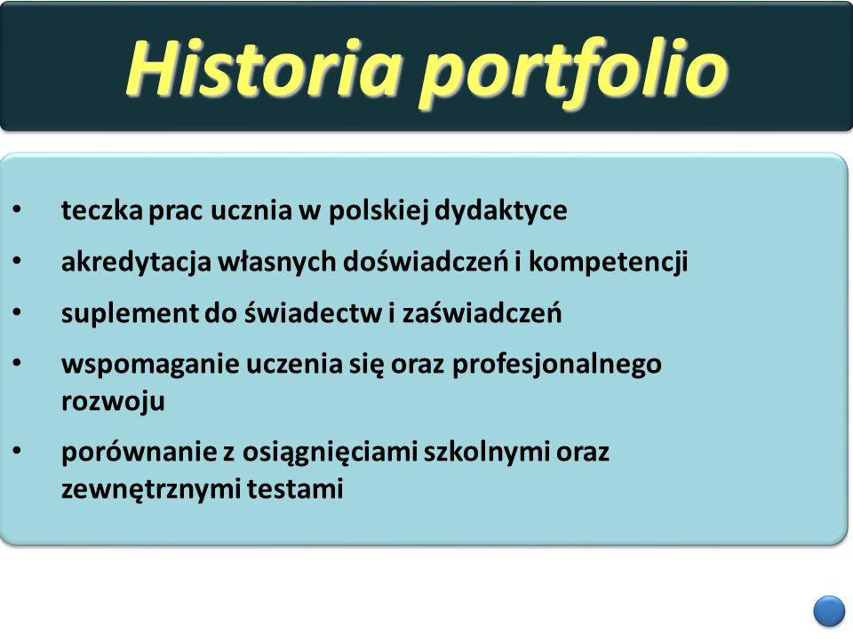 Historia portfolio teczka prac ucznia w polskiej dydaktyce akredytacja własnych doświadczeń i kompetencji suplement do świadectw i zaświadczeń wspomag