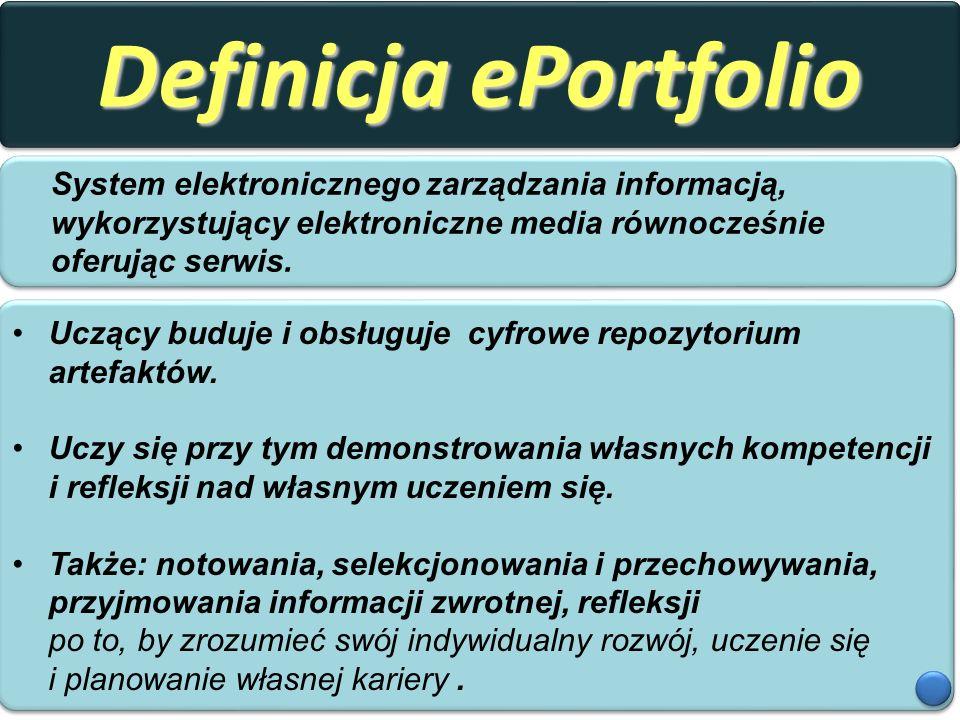 Definicja ePortfolio System elektronicznego zarządzania informacją, wykorzystujący elektroniczne media równocześnie oferując serwis. Uczący buduje i o
