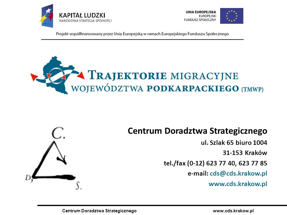 Centrum Doradztwa Strategicznego www.cds.krakow.pl Centrum Doradztwa Strategicznego ul.