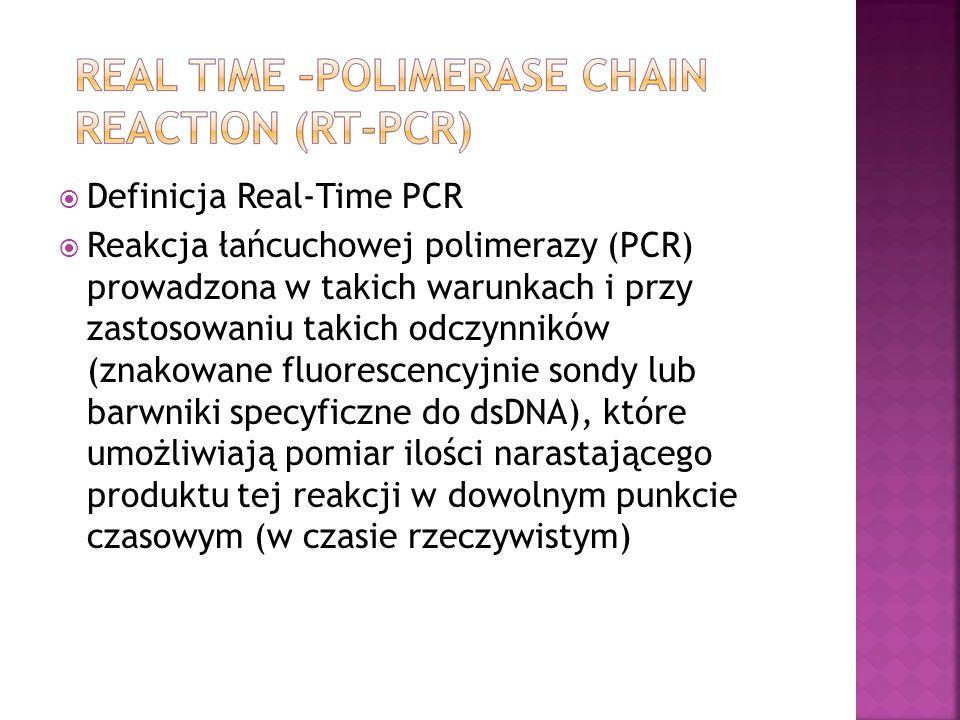 Definicja Real-Time PCR Reakcja łańcuchowej polimerazy (PCR) prowadzona w takich warunkach i przy zastosowaniu takich odczynników (znakowane fluorescencyjnie sondy lub barwniki specyficzne do dsDNA), które umożliwiają pomiar ilości narastającego produktu tej reakcji w dowolnym punkcie czasowym (w czasie rzeczywistym)