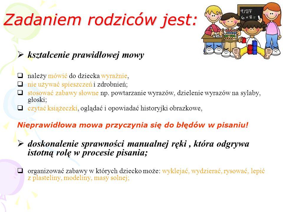 Zadaniem rodziców jest: kształcenie prawidłowej mowy należy mówić do dziecka wyraźnie, nie używać spieszczeń i zdrobnień; stosować zabawy słowne np. p