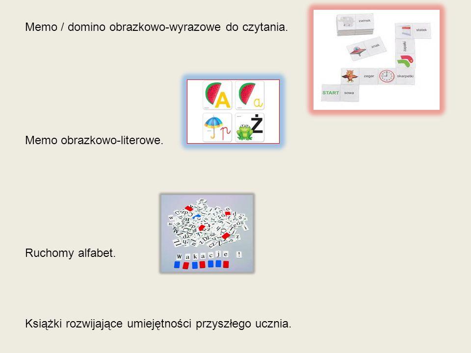 Memo / domino obrazkowo-wyrazowe do czytania. Memo obrazkowo-literowe. Ruchomy alfabet. Książki rozwijające umiejętności przyszłego ucznia.