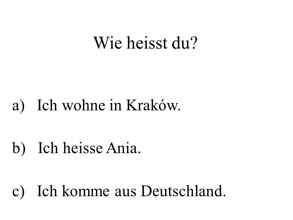 Wie heisst du? a) Ich wohne in Kraków. b) Ich heisse Ania. c) Ich komme aus Deutschland.