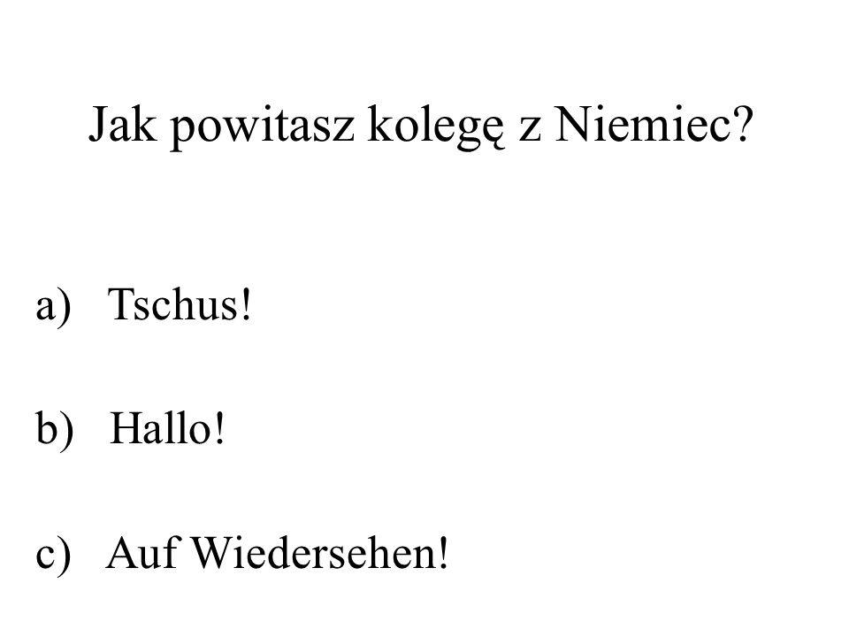 Jak powitasz kolegę z Niemiec? a) Tschus! b) Hallo! c) Auf Wiedersehen!