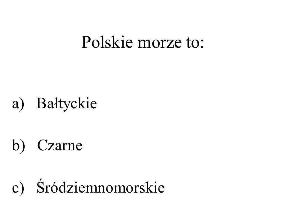 Polskie morze to: a) Bałtyckie b) Czarne c) Śródziemnomorskie
