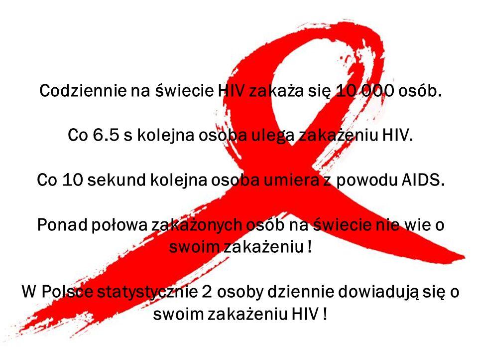 Codziennie na świecie HIV zakaża się 10 000 osób. Co 6.5 s kolejna osoba ulega zakażeniu HIV. Co 10 sekund kolejna osoba umiera z powodu AIDS. Ponad p