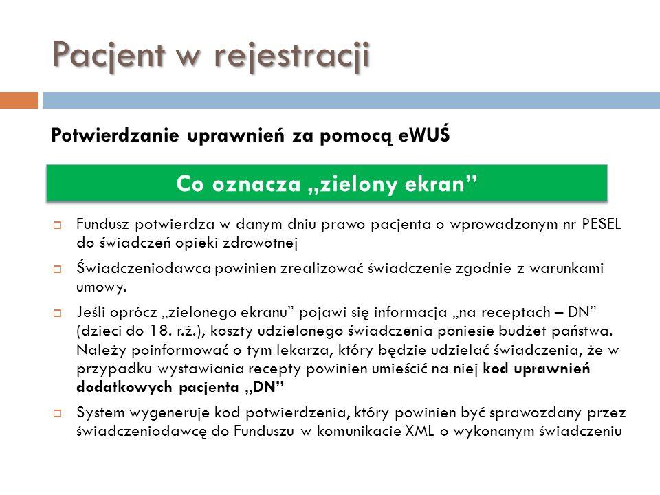 Pacjent w rejestracji Potwierdzanie uprawnień za pomocą eWUŚ Co oznacza zielony ekran Fundusz potwierdza w danym dniu prawo pacjenta o wprowadzonym nr