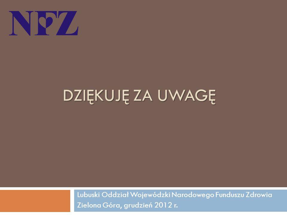 DZIĘKUJĘ ZA UWAGĘ Lubuski Oddział Wojewódzki Narodowego Funduszu Zdrowia Zielona Góra, grudzień 2012 r.
