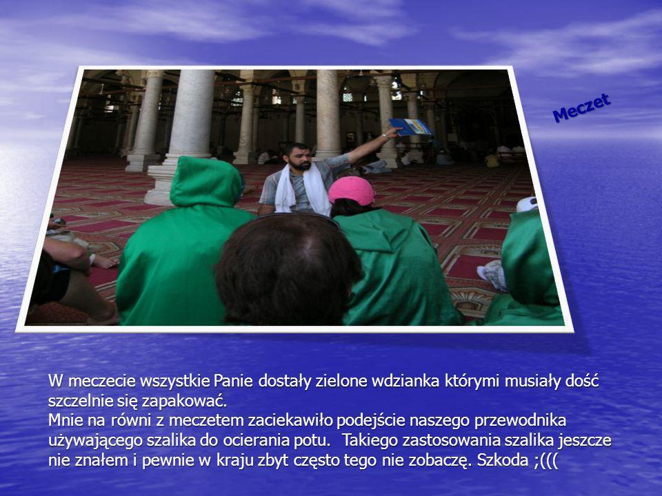 Meczet W meczecie wszystkie Panie dostały zielone wdzianka którymi musiały dość szczelnie się zapakować. Mnie na równi z meczetem zaciekawiło podejści