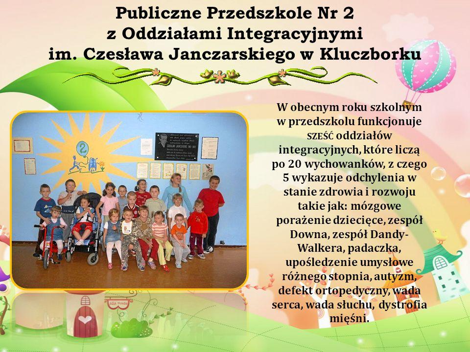 W obecnym roku szkolnym w przedszkolu funkcjonuje SZEŚĆ oddziałów integracyjnych, które liczą po 20 wychowanków, z czego 5 wykazuje odchylenia w stani