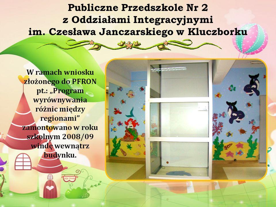 W ramach wniosku złożonego do PFRON pt.: Program wyrównywania różnic między regionami zamontowano w roku szkolnym 2008/09 windę wewnątrz budynku. Publ