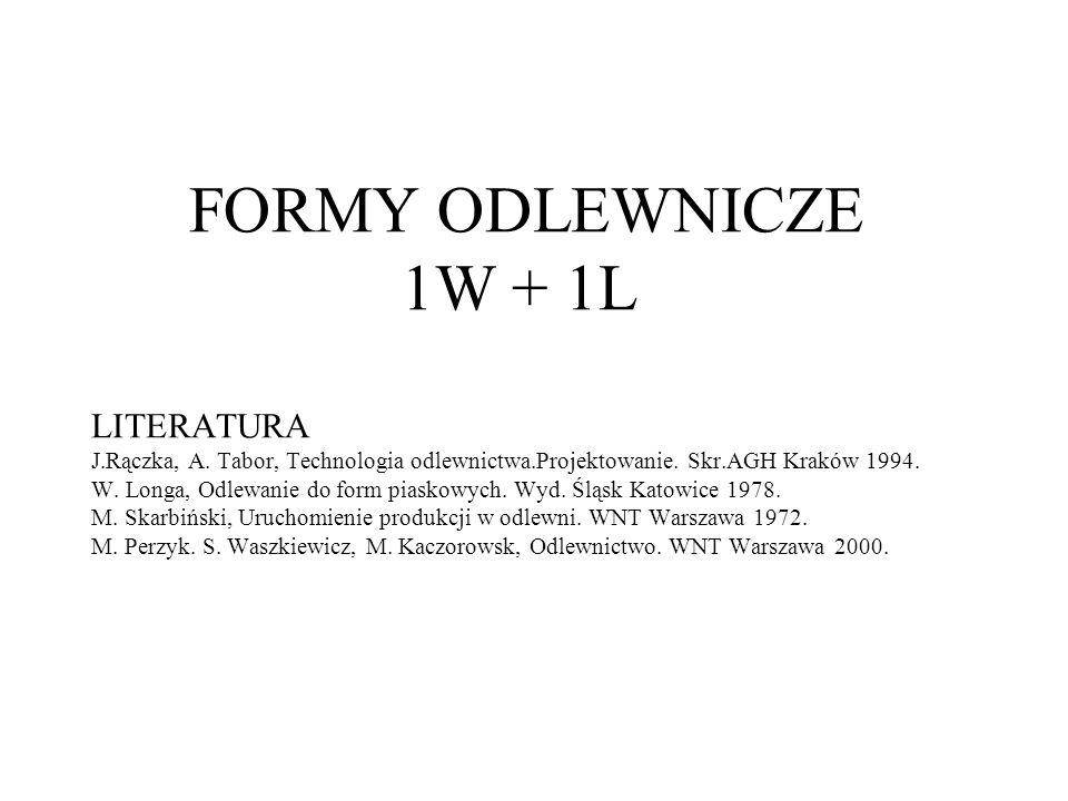 FORMY ODLEWNICZE 1W + 1L LITERATURA J.Rączka, A. Tabor, Technologia odlewnictwa.Projektowanie. Skr.AGH Kraków 1994. W. Longa, Odlewanie do form piasko