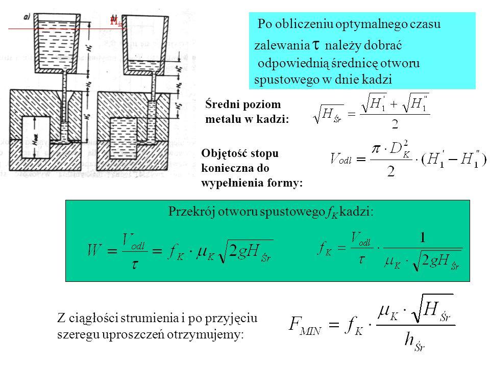 Po obliczeniu optymalnego czasu zalewania należy dobrać odpowiednią średnicę otworu spustowego w dnie kadzi Średni poziom metalu w kadzi: Objętość sto