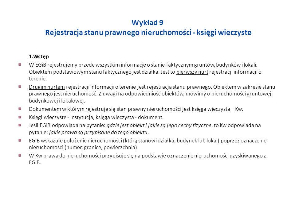 Wykład 9 Rejestracja stanu prawnego nieruchomości - księgi wieczyste 1.Wstęp W EGiB rejestrujemy przede wszystkim informacje o stanie faktycznym grunt