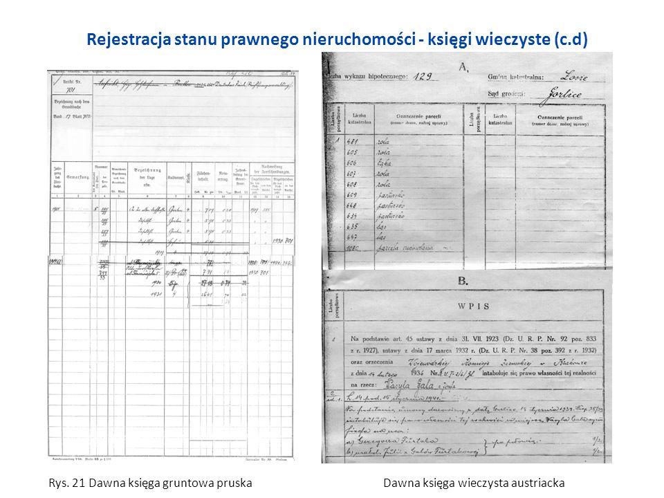 Rejestracja stanu prawnego nieruchomości - księgi wieczyste (c.d) Rys. 21 Dawna księga gruntowa pruska Dawna księga wieczysta austriacka